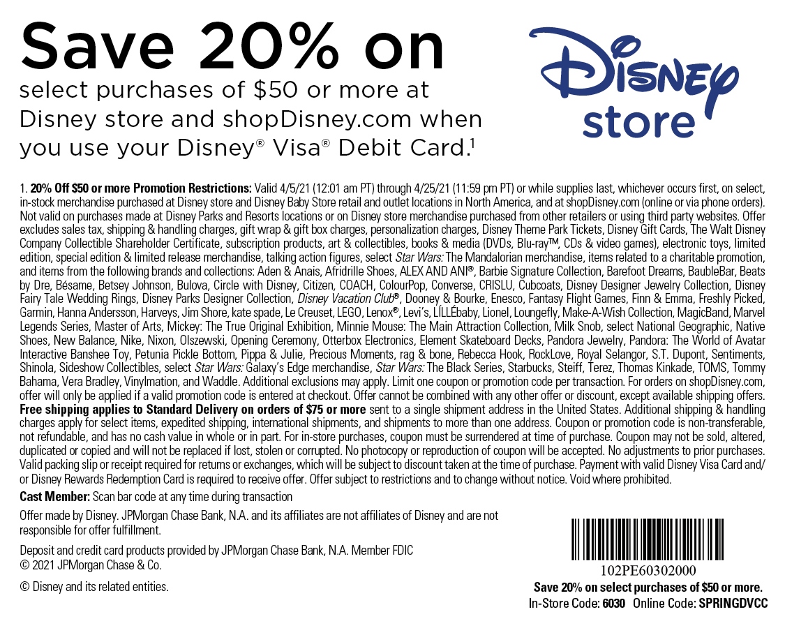 Save 20% off select purchases of $50 or more at Disney store or shopDisney.com